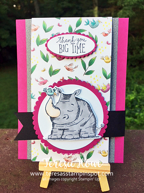 Thank You, Rhino, Animal Outing, Stampin' Up!, SU!, Fun Fold