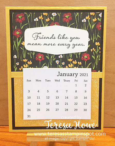 Flower & Fields Designer Series Paper, Calendar, Friendship, Positive Thoughts, Stampin' Up!, SU!, #JanFeb2021SAB