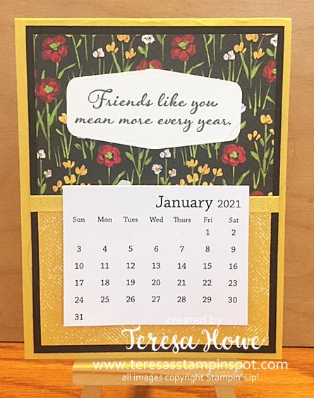 Flower & Fields Designer Series Paper, Calendar, Friendship, Positive Thoughts, Stampin' Up!, SU!, #JanFeb2021SAB