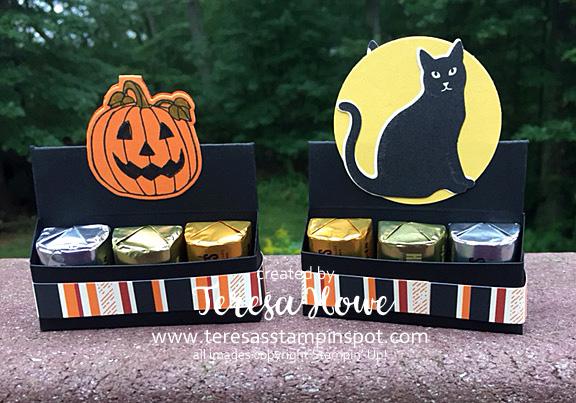 Seasonal Chums, Pumpkins, Cats, Spooky Cat, Stampin' Up!, SU!, Treat Holders, Hershey Nugget, Halloween