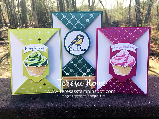 Fancy Fold, Double Point Fold, Thank You, Birthday, Cards, Sweet Cupcakes, Petal Pallete, DSP, InColors2017, Stampin' Up!, SU!